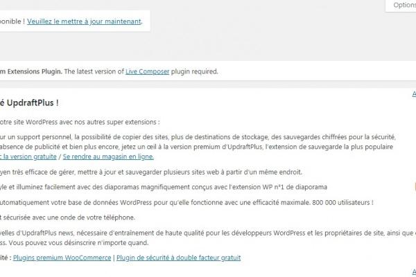 supprimer notification theme wordpress