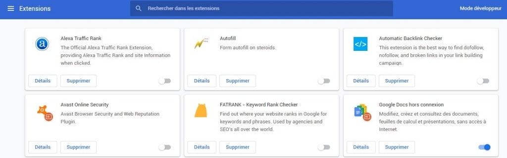 gérer ses extensions Chrome