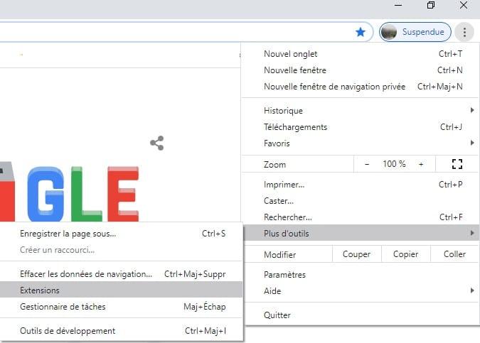 gestion des extensions Chrome